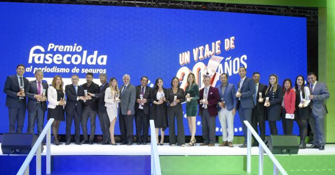Los ganadores de los Premios Fasecolda al Periodismo de Seguros 2019.